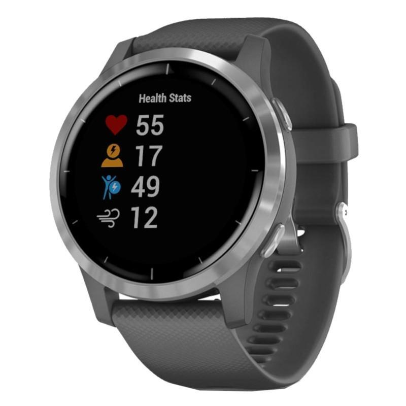 Garmin Vivoactive 4 GPS WiFi hõbedane halli rihmaga